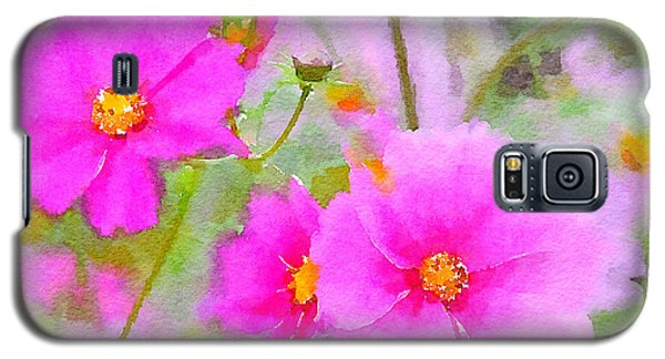 Galaxy S5 Case featuring the painting Watercolor Pink Cosmos by Bonnie Bruno