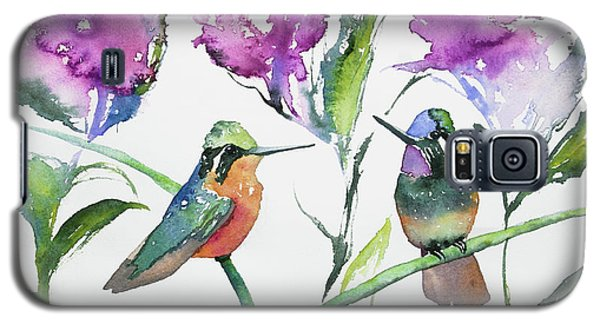 Watercolor - Purple-throated Mountain Gems And Flowers Galaxy S5 Case