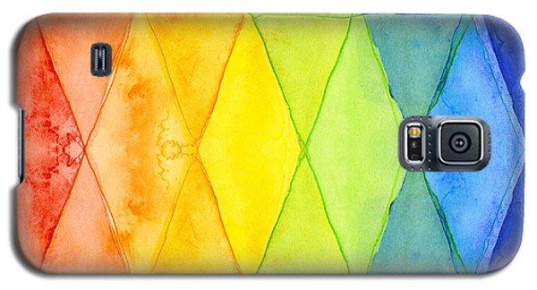 Watercolor Galaxy S5 Case - Watercolor Rainbow Pattern Geometric Shapes Triangles by Olga Shvartsur