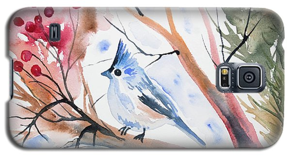 Watercolor - Tufted Titmouse With Winter Berries Galaxy S5 Case