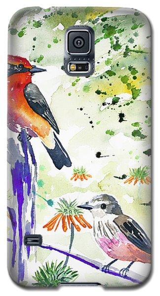 Watercolor - Vermilion Flycatcher Pair In Quito Galaxy S5 Case