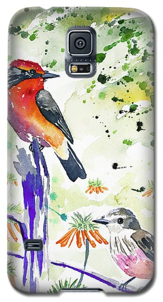 Watercolor - Vermilion Flycatcher Pair In Quito Galaxy S5 Case