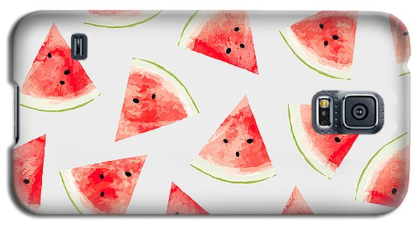 Watermelon Galaxy S5 Case - Watercolor Watermelon Pattern by Uma Gokhale