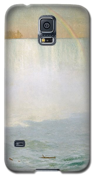 Waterfall And Rainbow At Niagara Falls Galaxy S5 Case by Albert Bierstadt