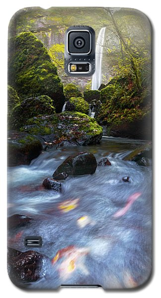 Waterfall And Stream With Fluxing Autumn Leaves Galaxy S5 Case