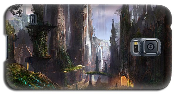 Waterfall Celtic Ruins Galaxy S5 Case