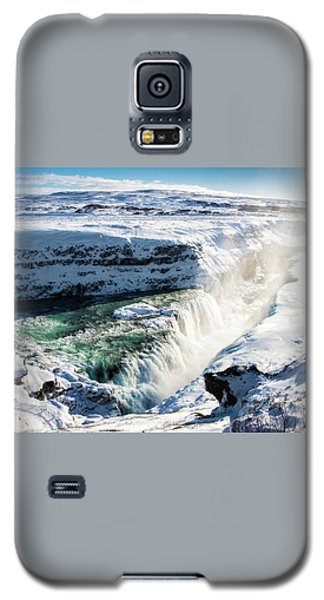 Waterfall Gullfoss Iceland In Winter Galaxy S5 Case by Matthias Hauser