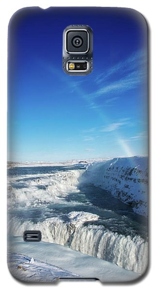 Galaxy S5 Case featuring the photograph Waterfall Gullfoss In Winter Iceland Europe by Matthias Hauser