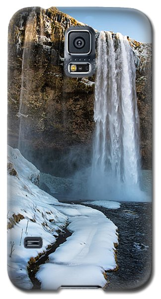 Waterfall Seljalandsfoss Iceland In Winter Galaxy S5 Case by Matthias Hauser