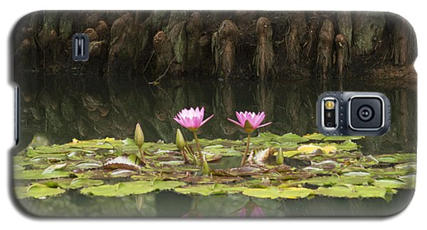 Galaxy S5 Case featuring the photograph Waterlilies And Cyprus Knees by Linda Geiger
