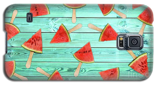 Watermelon Galaxy S5 Case - Watermelon Popsicles On Blue by Delphimages Photo Creations