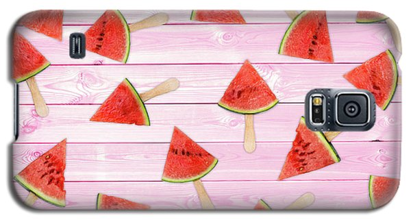 Watermelon Galaxy S5 Case - Watermelon Popsicles On Pink by Delphimages Photo Creations