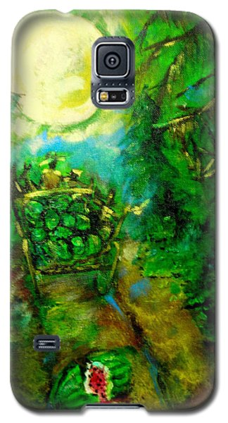 Galaxy S5 Case featuring the painting Watermelon Wagon Moon by Seth Weaver