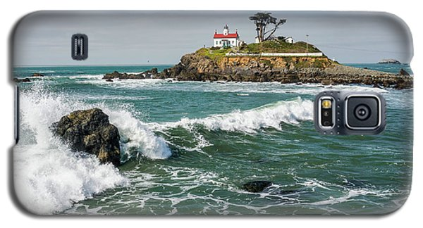 Galaxy S5 Case featuring the photograph Wave Break And The Lighthouse by Greg Nyquist