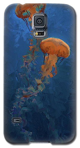Galaxy S5 Case featuring the painting Weightless - Pacific Nettle Jellyfish Study  by Karen Whitworth