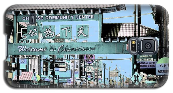Welcome To Chinatown Sign Blue Galaxy S5 Case by Marianne Dow
