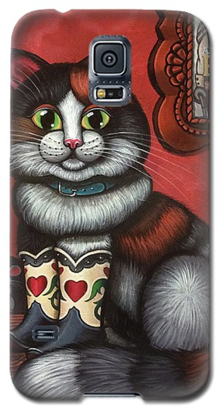 Western Boots Cat Painting Galaxy S5 Case