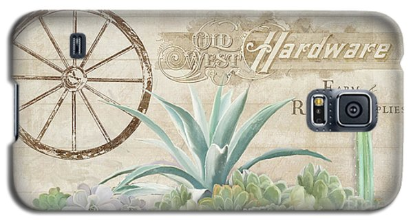 Galaxy S5 Case featuring the painting Western Range 4 Old West Desert Cactus Farm Ranch  Wooden Sign Hardware by Audrey Jeanne Roberts