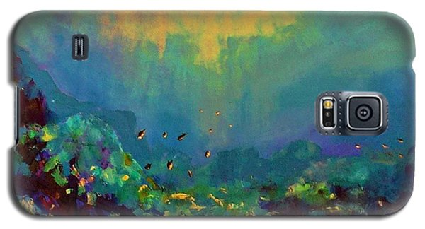 Galaxy S5 Case featuring the painting When The Sun Is Looking Into The Sea by AmaS Art