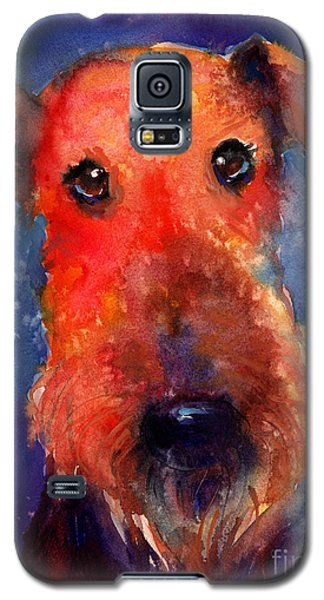 Whimsical Airedale Dog Painting Galaxy S5 Case