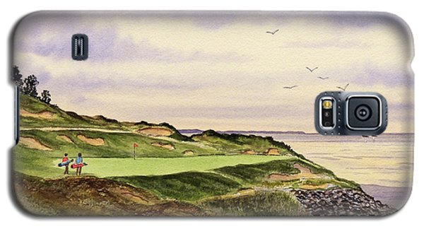 Galaxy S5 Case featuring the painting Whistling Straits Golf Course Hole 7 by Bill Holkham
