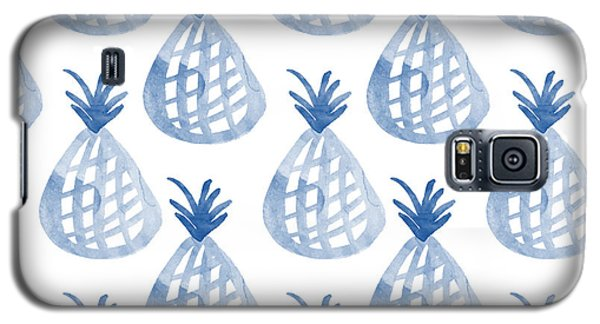 Watercolor Galaxy S5 Case - White And Blue Pineapple Party by Linda Woods