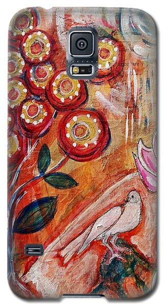 Galaxy S5 Case featuring the mixed media White Bird by Mimulux patricia no No