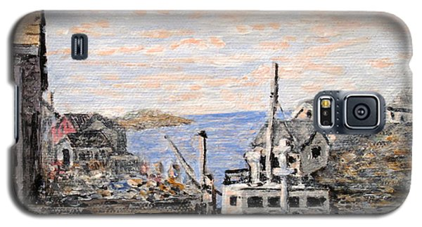 Galaxy S5 Case featuring the painting White Boat In Peggys Cove Nova Scotia by Ian  MacDonald
