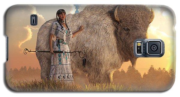 White Buffalo Calf Woman Galaxy S5 Case by Daniel Eskridge