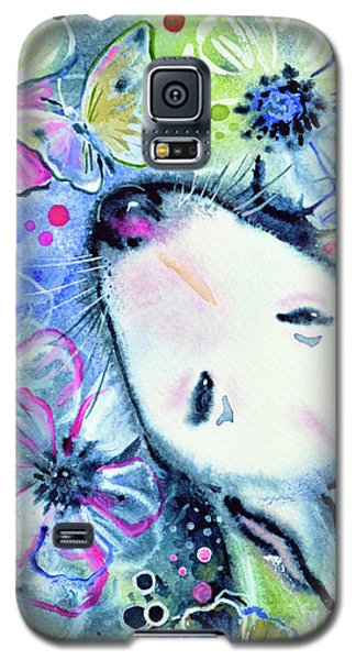 Galaxy S5 Case featuring the painting White Bull Terrier And Butterfly by Zaira Dzhaubaeva