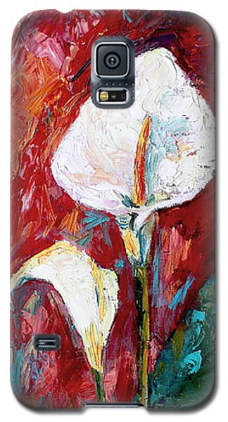 White Calla Lilies Oil Painting Galaxy S5 Case by Ginette Callaway
