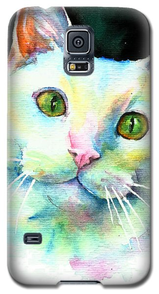Galaxy S5 Case featuring the painting White Cat by Christy Freeman