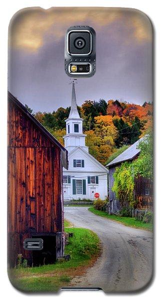 Galaxy S5 Case featuring the photograph White Church In Autumn - Waits River Vermont by Joann Vitali