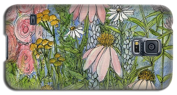 Galaxy S5 Case featuring the painting White Coneflowers In Garden by Laurie Rohner