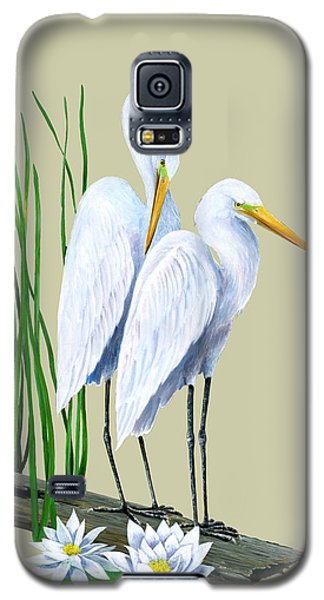 White Egrets And White Lillies Galaxy S5 Case
