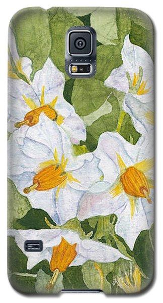 White Garden Blossoms Watercolor On Masa Paper Galaxy S5 Case