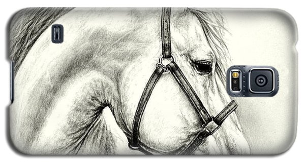 Galaxy S5 Case featuring the drawing White Horse by Heidi Kriel