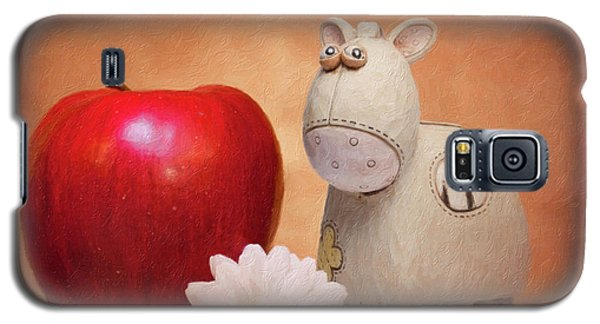 Galaxy S5 Case featuring the photograph White Horse With Apple by Tom Mc Nemar