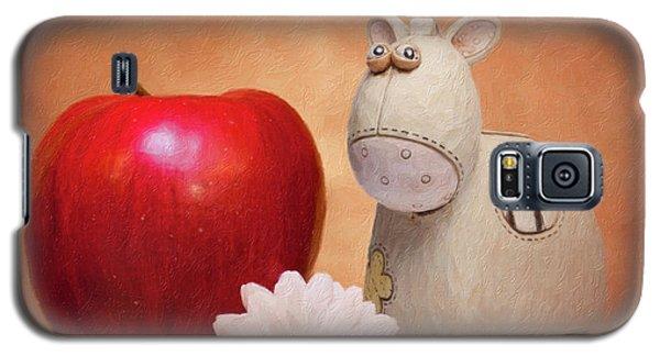 Daisy Galaxy S5 Case - White Horse With Apple by Tom Mc Nemar