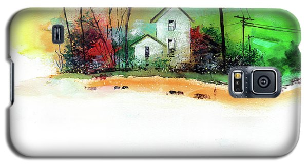 Galaxy S5 Case featuring the painting White Houses by Anil Nene