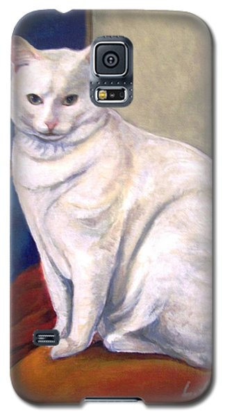 Galaxy S5 Case featuring the painting White Kitty by Laura Aceto