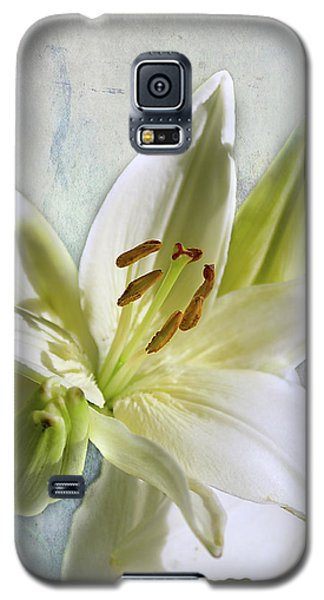 Galaxy S5 Case featuring the photograph White Lilies On Blue by Jacqi Elmslie