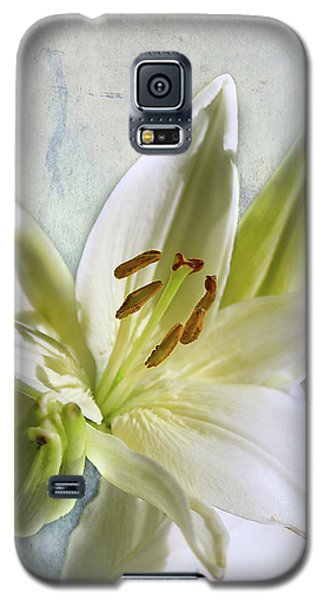 White Lilies On Blue Galaxy S5 Case by Jacqi Elmslie