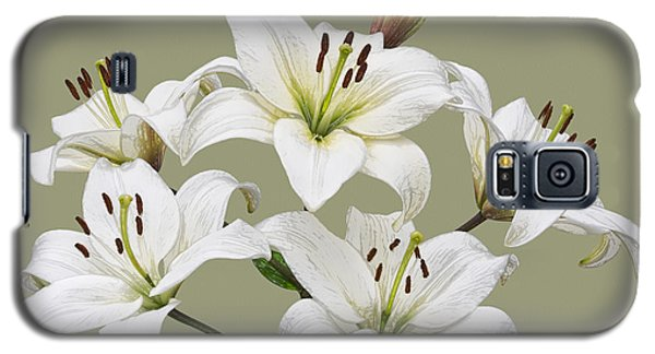 White Lilies Illustration Galaxy S5 Case
