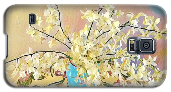 White Orchid Bouquet Pink/blue Galaxy S5 Case