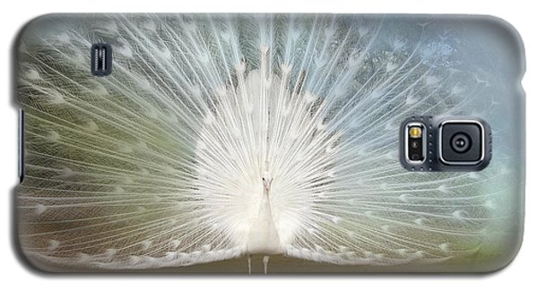 Galaxy S5 Case featuring the photograph White Peacock In All His Glory by Bonnie Barry