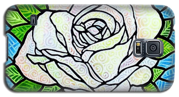 Galaxy S5 Case featuring the painting White Rose  by Jim Harris