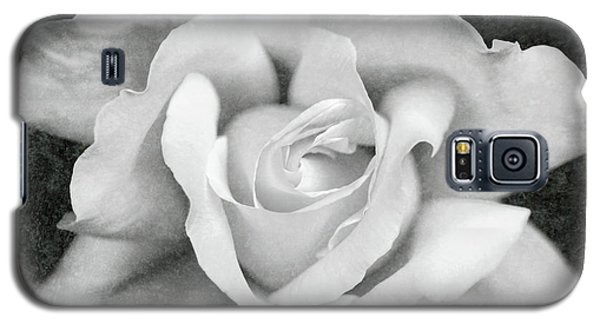 Galaxy S5 Case featuring the photograph White Rose Macro Black And White by Jennie Marie Schell