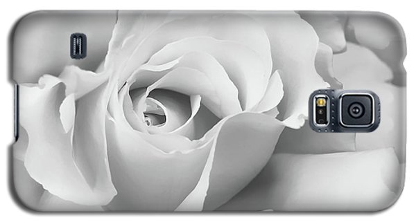 Galaxy S5 Case featuring the photograph White Rose Ruffles Monochrome by Jennie Marie Schell