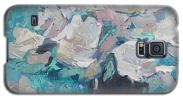 White Roses Palette Knife Acrylic Painting Galaxy S5 Case by Chris Hobel